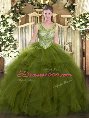 Fashion Olive Green Lace Up Sweet 16 Dresses Beading and Ruffles Sleeveless Floor Length