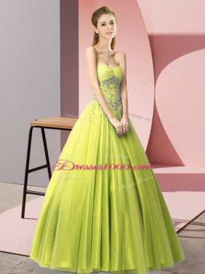 Stylish Yellow Green Prom Party Dress Prom and Party with Beading Sweetheart Sleeveless Lace Up