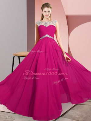 Top Selling Floor Length Empire Sleeveless Fuchsia Juniors Party Dress Clasp Handle