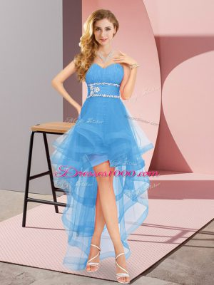 Fantastic Baby Blue A-line Beading Prom Dresses Lace Up Tulle Sleeveless High Low