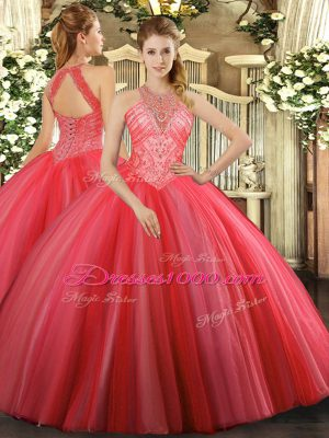 Floor Length Coral Red Vestidos de Quinceanera Tulle Sleeveless Beading