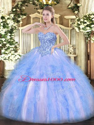 Organza Sweetheart Sleeveless Lace Up Appliques and Ruffles Quinceanera Dress in Blue And White