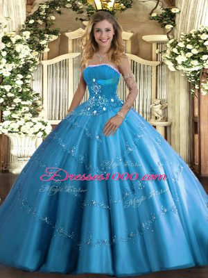 Exceptional Floor Length Baby Blue Quinceanera Gown Tulle Sleeveless Beading and Appliques