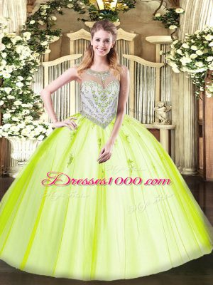 Exquisite Floor Length Yellow Green Quinceanera Dresses Tulle Sleeveless Beading and Appliques