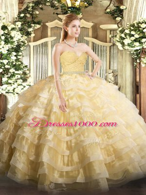 Popular Gold Tulle Zipper Sweetheart Sleeveless Floor Length Quince Ball Gowns Beading and Lace and Ruffled Layers