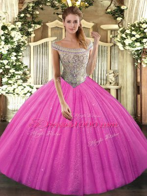 Hot Pink Sleeveless Tulle Lace Up Sweet 16 Dress for Sweet 16 and Quinceanera