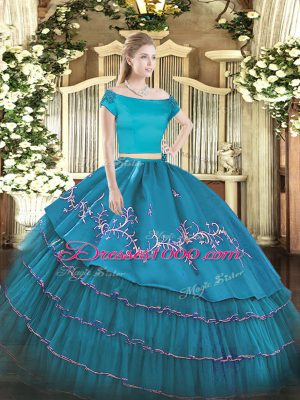 Most Popular Short Sleeves Zipper Floor Length Embroidery and Ruffled Layers Sweet 16 Quinceanera Dress