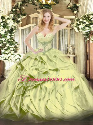 New Style Floor Length Lace Up Sweet 16 Dresses Olive Green for Military Ball and Sweet 16 and Quinceanera with Beading and Ruffles