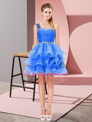 Flare Blue A-line Beading and Ruffled Layers Custom Made Lace Up Organza Sleeveless Mini Length