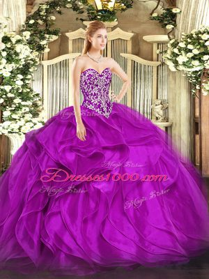 On Sale Organza Sleeveless Floor Length Sweet 16 Dresses and Beading and Ruffles