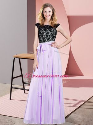 Empire Dress for Prom Lavender Scoop Chiffon Sleeveless Floor Length Lace Up