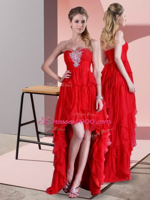 Suitable Sleeveless Chiffon High Low Sweep Train Lace Up Prom Gown in Red with Beading