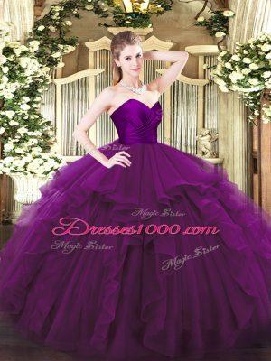 Shining Sleeveless Zipper Floor Length Ruffles Vestidos de Quinceanera