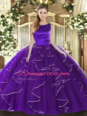 Purple Tulle Lace Up Scoop Sleeveless Floor Length Ball Gown Prom Dress Ruffles