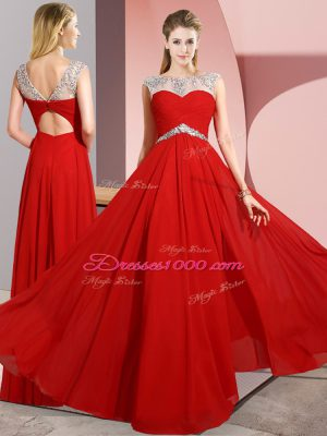 Comfortable Empire Prom Dress Red Scoop Chiffon Sleeveless Floor Length Clasp Handle