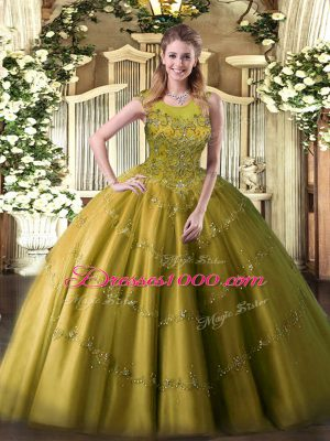 Olive Green Sweet 16 Dress Military Ball and Sweet 16 and Quinceanera with Appliques Scoop Sleeveless Zipper
