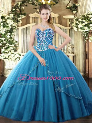 Beading Ball Gown Prom Dress Blue Lace Up Sleeveless Brush Train
