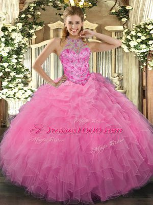Floor Length Ball Gowns Sleeveless Rose Pink Quinceanera Dresses Lace Up