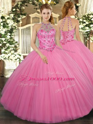 Fantastic Ball Gowns Sweet 16 Quinceanera Dress Rose Pink Halter Top Tulle Sleeveless Floor Length Lace Up