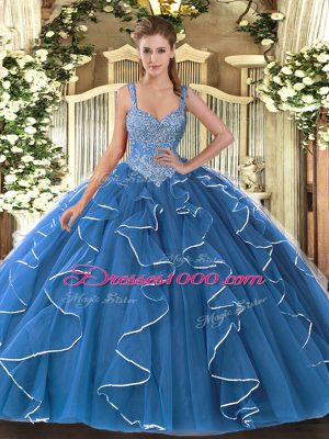 Cheap Blue Ball Gowns V-neck Sleeveless Tulle Floor Length Lace Up Beading and Ruffles 15 Quinceanera Dress