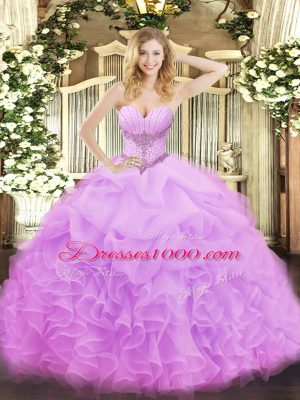 Customized Lilac Organza Lace Up Quinceanera Gowns Sleeveless Floor Length Beading and Ruffles and Pick Ups
