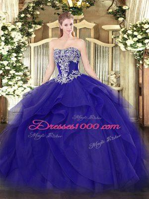 Sweet Floor Length Blue 15 Quinceanera Dress Tulle Sleeveless Beading and Ruffles