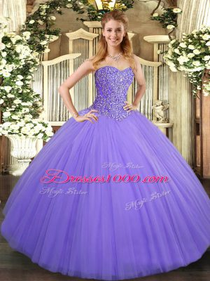Custom Made Floor Length Ball Gowns Sleeveless Lavender Quinceanera Dress Lace Up
