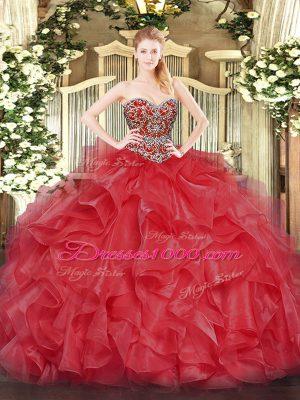Deluxe Coral Red Organza Lace Up Vestidos de Quinceanera Sleeveless Floor Length Beading