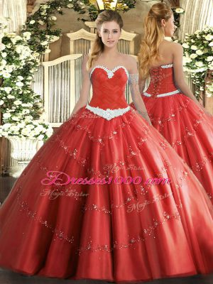 Coral Red Ball Gowns Tulle Sweetheart Sleeveless Appliques Floor Length Lace Up Sweet 16 Dresses
