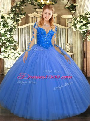 Blue Scoop Lace Up Lace Ball Gown Prom Dress Long Sleeves