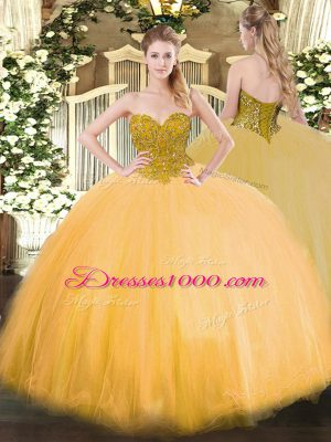 Sumptuous Sleeveless Floor Length Beading Lace Up Quinceanera Dresses with Gold