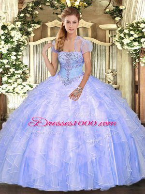 Floor Length Light Blue Quinceanera Gowns Tulle Sleeveless Appliques and Ruffles