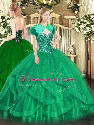 Amazing Turquoise Sleeveless Floor Length Beading and Ruffles Lace Up Vestidos de Quinceanera