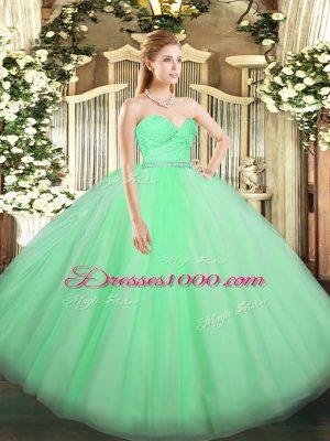 Nice Apple Green Sleeveless Beading and Lace Floor Length Sweet 16 Dresses