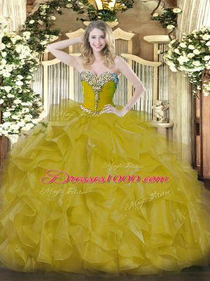 Sleeveless Floor Length Beading Lace Up Sweet 16 Dresses with Gold