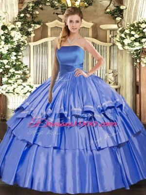 Vintage Organza Strapless Sleeveless Lace Up Ruffled Layers Quince Ball Gowns in Blue