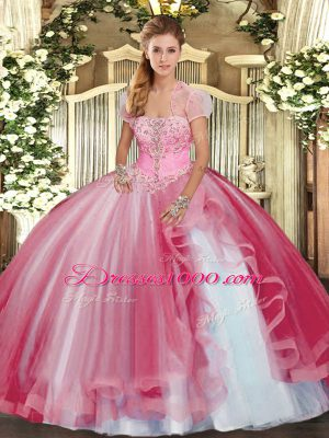 8ccac43af55 Stylish Pink Tulle Lace Up Strapless Sleeveless Floor Length Quinceanera  Dresses Beading and Ruffles