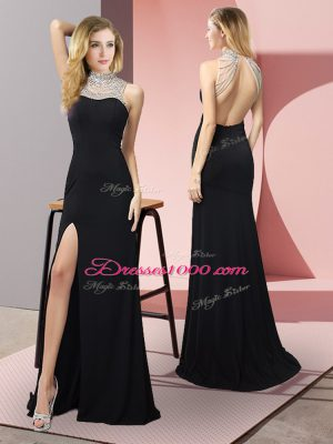 Floor Length Column/Sheath Sleeveless Black Casual Dresses Backless