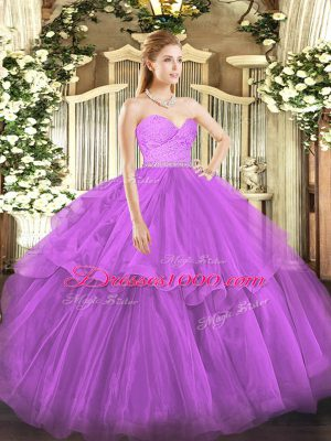 Ideal Fuchsia Ball Gowns Sweetheart Sleeveless Tulle Brush Train Zipper Beading and Lace and Ruffled Layers Quinceanera Gowns
