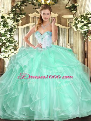 Fashion Sweetheart Sleeveless 15 Quinceanera Dress Floor Length Beading and Ruffles Apple Green Organza