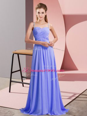 Sumptuous Lavender Prom Evening Gown Prom and Party with Ruching Spaghetti Straps Sleeveless Sweep Train Backless