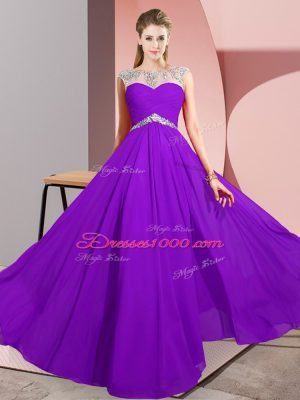 Sophisticated Chiffon Sleeveless Floor Length Womens Party Dresses and Beading