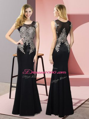 Sleeveless Elastic Woven Satin Floor Length Side Zipper Party Dress in Black with Appliques
