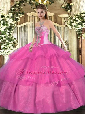 Popular Hot Pink Tulle Lace Up Sweetheart Sleeveless Floor Length Sweet 16 Quinceanera Dress Beading and Ruffled Layers