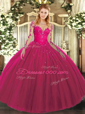 Stylish Tulle Scoop Long Sleeves Lace Up Lace Sweet 16 Quinceanera Dress in Hot Pink