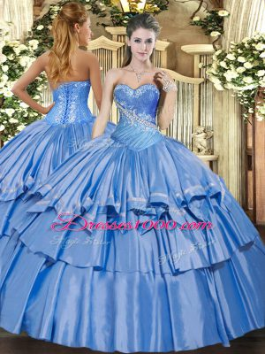 Baby Blue Organza and Taffeta Lace Up 15 Quinceanera Dress Sleeveless Floor Length Beading and Ruffles