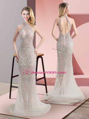 Customized Champagne Party Dresses Tulle Sweep Train Sleeveless Beading