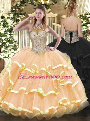 Trendy Floor Length Lace Up Ball Gown Prom Dress Peach for Military Ball and Sweet 16 and Quinceanera with Beading and Ruffled Layers