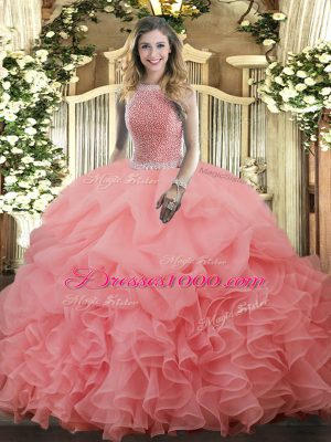 Admirable Watermelon Red Ball Gowns High-neck Sleeveless Organza Floor Length Lace Up Beading and Ruffles and Pick Ups Sweet 16 Quinceanera Dress