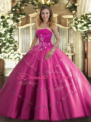 Wonderful Hot Pink Strapless Neckline Beading and Appliques Quinceanera Gowns Sleeveless Lace Up